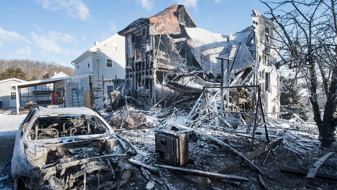 The scene of a fire in the 700 block of Cly Road in Newberry Township Sunday February 14, 2016