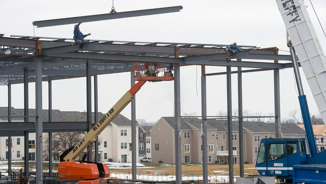 Steel under construction at York Country Day School, where an expansion project is under way.