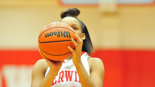 Sha'Jaia Grant (14) and the Erwin girls are in Friday's championship game of the Mountain Athletic Conference 3-A tournament.