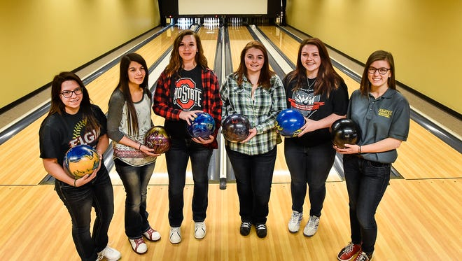 The Elgin girls bowling team, from left, Samantha Smith, Bryanna Carmichael, Brittney Caldwell, Kierstyn Graber, Hallie Hall and Rachel Stillings will compete in Saturday's Division II State Championships at Wayne Webb's Columbus Bowl.