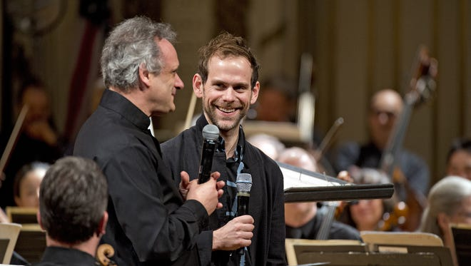 ENQUIRER MARCH 13, 2015- MUSICNOW FESTIVAL - Bryce Dessner, celebrating the 10th anniversary of the MusicNOW Festival in 2015 with CSO music director Louis Langrée.