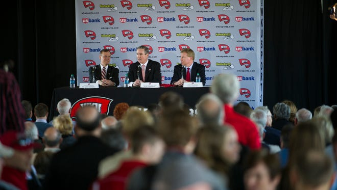 """Western Kentucky University's new head basketball coach, Rick Stansbury, speaks during his first press conference at Houchens Industries-L.T. Smith Stadium in Bowling Green.  """"I believe that what a young man does off the court carries over onto the court,"""" Stansbury said. Stansbury comes from an associate head coach position at Texas A&M, replacing Ray Harper, resigned after three WKU basketball team members were suspended on March 17, 2016. Justin Gilliland, Special to the Courier-Journal"""