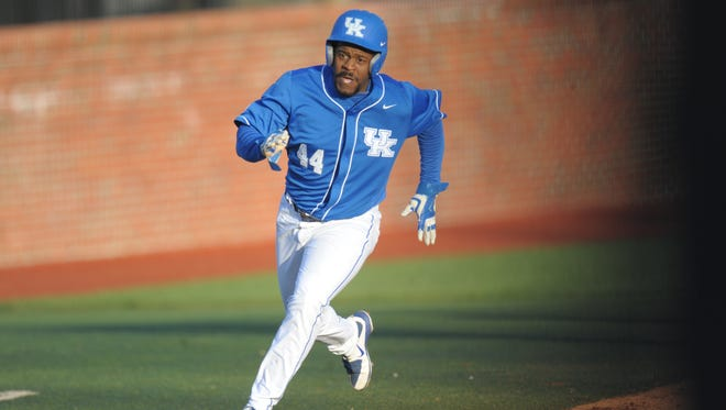 Dorian Hairston heads home during the UK baseball game against Northern Kentucky University at Cliff Hagan Stadium in Lexington, Ky., on Tuesday, March 29th, 2016. Photo by Mike Weaver
