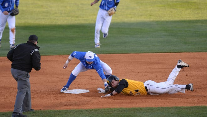 Luke Becker tags out Logan Spurlin at second base during the UK baseball game against Northern Kentucky University at Cliff Hagan Stadium in Lexington, Ky., on Tuesday, March 29th, 2016. Photo by Mike Weaver