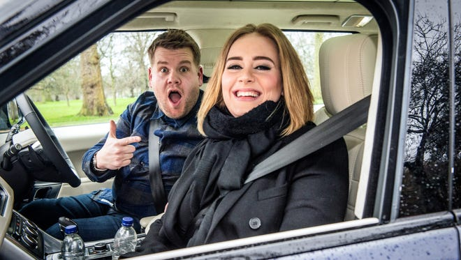 """Adele joins James Corden for Carpool Karaoke on """"The Late Late Show with James Corden"""" Jan. 13, 2016 on CBS. His singalong with Adele has tallied 93 million views since it aired."""