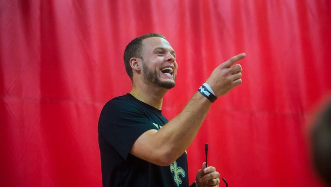 In this file photo, Saints player Erik Harris laughs along with the audience as he poses a question during his talk on April 6, 2016 at the Hanover Area YMCA.