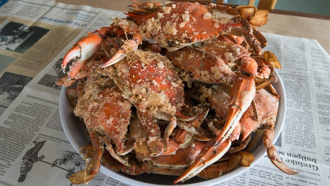 Fresh cooked crabs at Sambo's Tavern seafood restaurant in Leipsic.