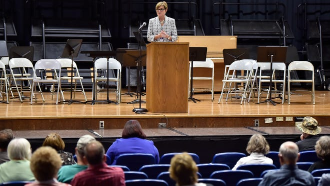 Pennsylvania Secretary of Health Dr. Karen Murphy talks about the way the state has combated the spread of Lyme disease, Chambersburg Area Middle School South on Wednesday, May 4, 2016 in Chambersburg. Murphy also took questions from the audience. The event was hosted by Sen. Rich Alloway II, R-Chambersburg.