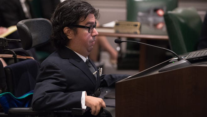Santino Ceccotti addresses the Delaware Supreme Court in the Rauf vs State of Delaware.  The court is weighing whether Delaware's death penalty statute is constitutional in light of a U.S. Supreme Court ruling that struck down part of Florida's death penalty sentencing scheme.