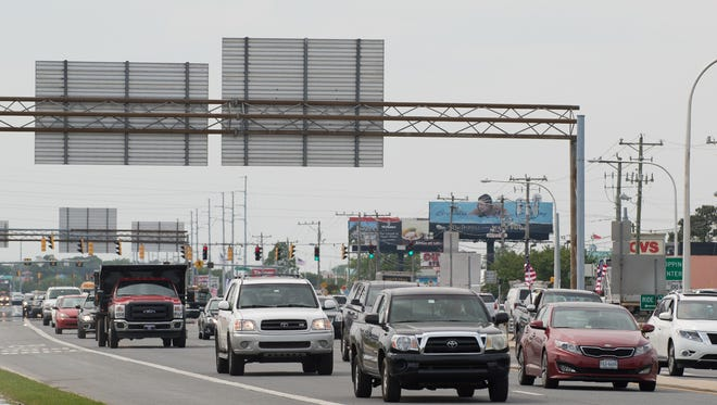 Traffic moves south on Del. 1 in Rehoboth Beach on May 25.