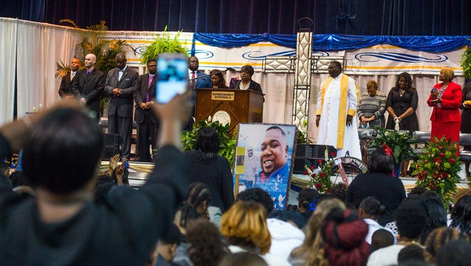 Family and friends gather at funeral to celebrate the life of Alton Sterling. Mandatory