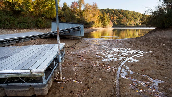 The boat launch at Hess Farm Road on Monday shows how low Lake Redman is now. The water level has been drawn down about 8 feet for the construction of a new pumping station.