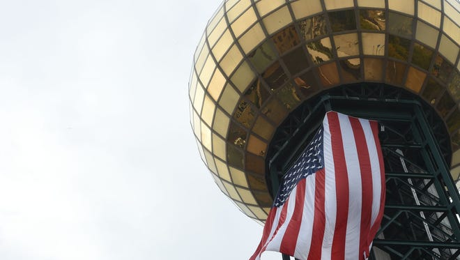 An American flag hangs from the Sunsphere in downtown Knoxville on Oct. 27.