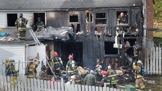 The scene of a single family home in the 400 block of Bull Run Road where 29 units were called for a fire.