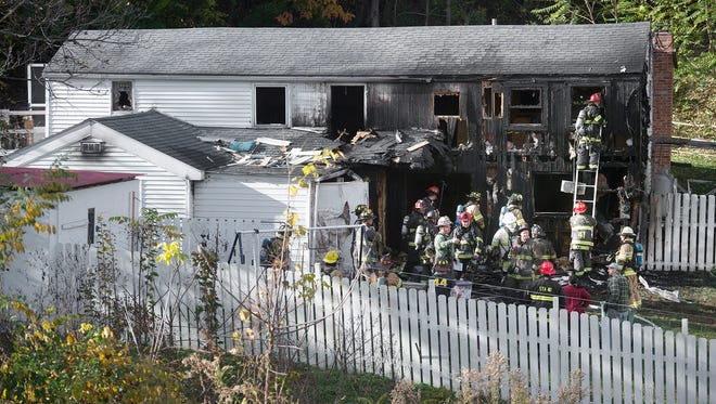 This is the scene of a single-family home in the 400 block of Bull Run Road in Lower Windsor Township where 29 units were called for a fire on Sunday.