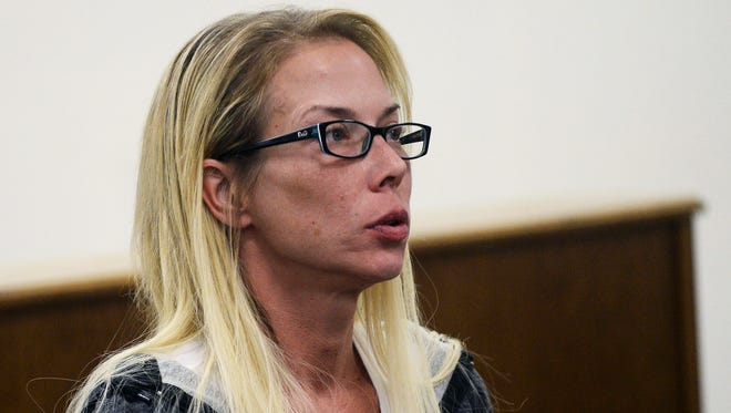 Eminem's ex-wife Kim Mathers waits to be sentenced for her DUI case on Tuesday at the 41-A District Court in Shelby Township.