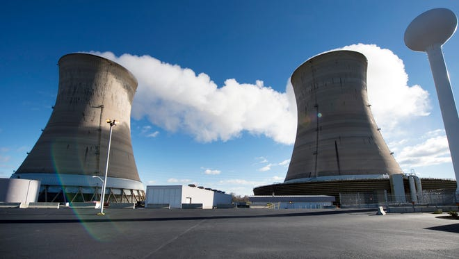 Cooling towers for reactor 1 at Three Mile Island near Middletown Tuesday November 22, 2016.