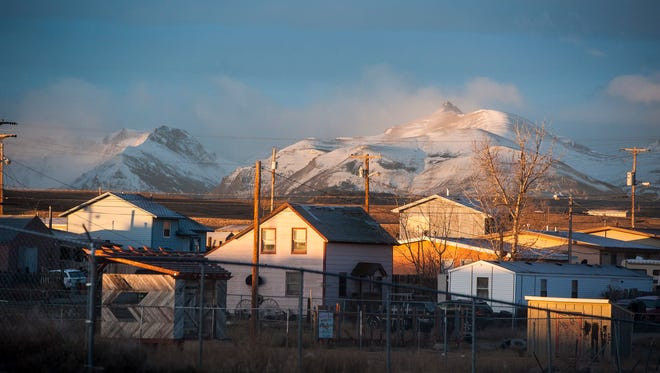 Morning light touches rooftops in Browning on the Blackfeet Indian Reservation.