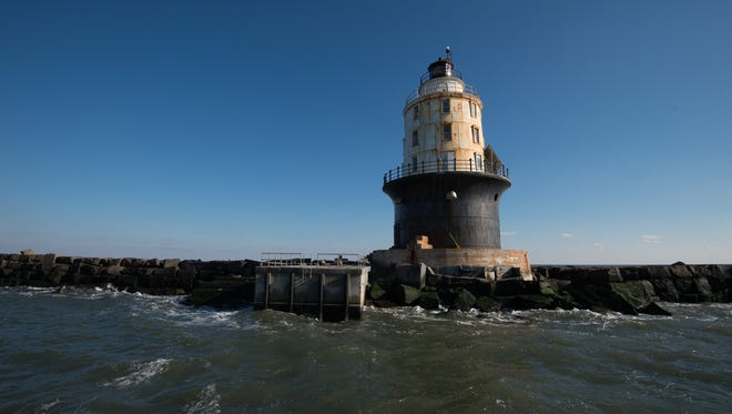 View of the Harbor of Refuge Lighthouse located at the mouth of the Delaware Bay, just off of Cape Henlopen.