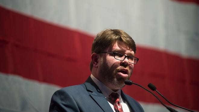 "Michigan Democratic Party Chairman Brandon Dillon was re-elected to his post during the party's state convention Saturday, Feb. 11, 2017,  at Cobo Center in Detroit. The event drew a crowd of about 5,000, a turnout Dillon called ""unbelievable."""