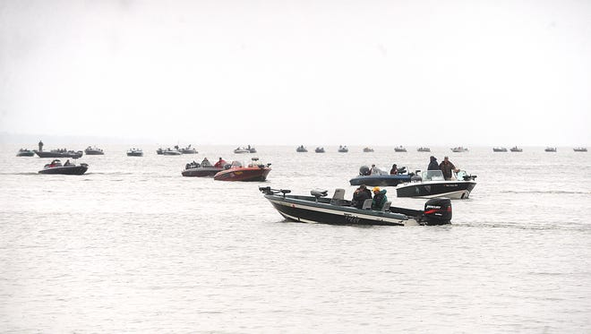 Anglers take to Lake Winnebago during the 2015 Mercury Marine National Walleye Tournament.