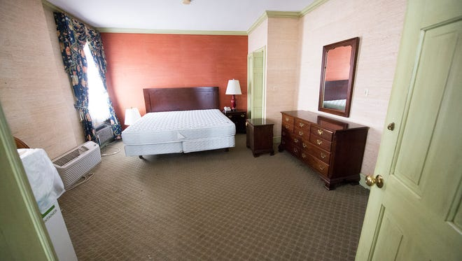 The Susquehanna Pfaltzgraff Suite at The Yorktowne Hotel had two bedrooms, a kitchen and a two level living area, Wednesday March 1, 2017.