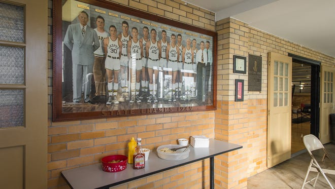 Lobby of the old Jasper fieldhouse, featuring a photo of the 1949 state champs