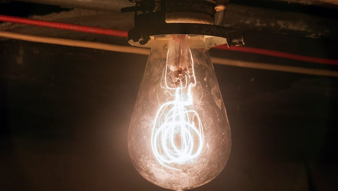 """The HYLO bulb on high providing """"16 candle power"""" according to the manufacturer."""
