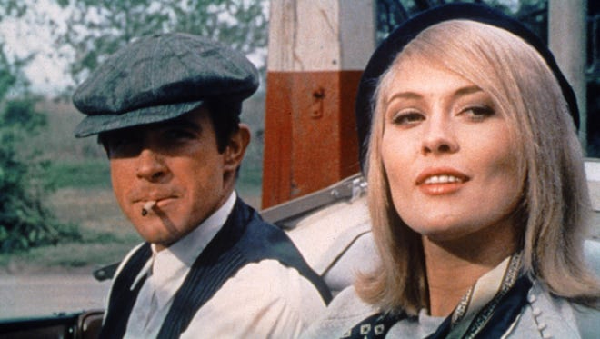 "Warren Beatty and Faye Dunaway in the film ""Bonnie and Clyde."""