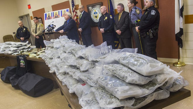 District Attorney Tom Kearney listens to a question during a news conference on Jan. 4, 2016, in Penn Township. Law enforcement seized more than 250 pounds of marijuana in an operation that involved the York County Drug Task Force.