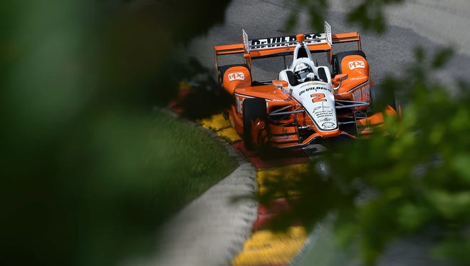 Josef Newgarden drives through Road America's Turn 12 in IndyCar practice Friday, June 23. Newgarden had the fastest lap of the day as Team Penske swept the top four spots.