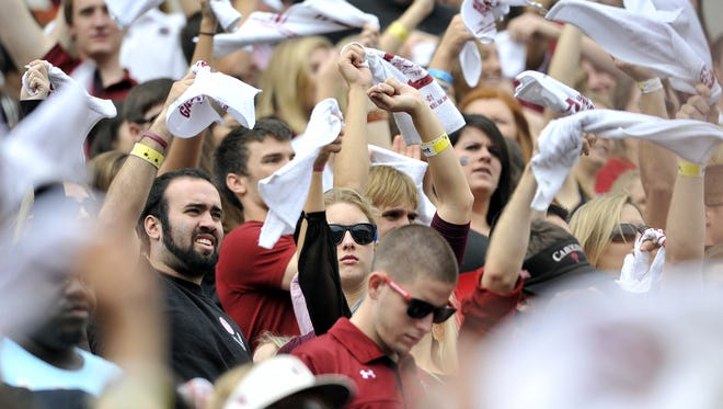 Gamecocks fans cheer before kickoff of a recent game at Williams-Brice Stadium in Columbia.
