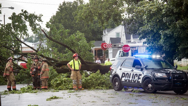 A large tree pulled down utility wires near North Clinton and Stanton Streets in West York after a storm Monday.