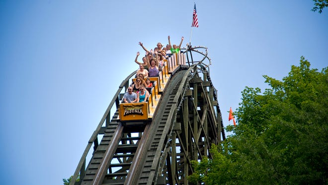 """Phoenix at Knoebels Amusement Resort in Elysburg, Pennsylvania was ranked the world's second best wooden roller coaster in 2016 by Amusement Today's Golden Ticket awards. """"Rising from the ashes of its history as the Rocket roller coaster built in 1947 in San Antonio Texas, the Phoenix was reborn at Knoebels in 1985,"""" writes Knoebles on their website."""