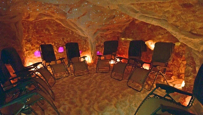 Comfortable beach-style chairs await clients at a salt cave Monday, November 6, 2017 at the Chambers Wellness Center, above Chambersburg Apothecary at Third Street and Lincoln Way East.