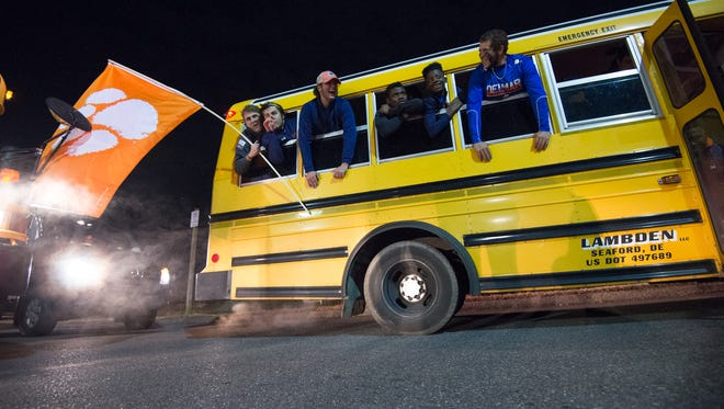 The Delmar High School football team is welcomed home after its 14-7 victory over Milford in the DIAA Division II championship game Saturday night at Delaware Stadium.