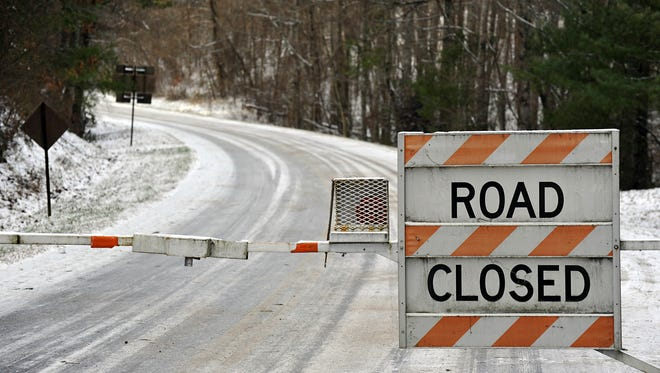 The commuter zone of the Blue Ridge Parkway is closed by ice and snow in this file photo.