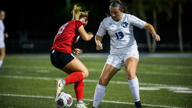 North Fort Myers senior Taylor Kruse pulls back during the girls soccer Class 3A regional quarterfinal at Barron Collier High School on Tuesday.