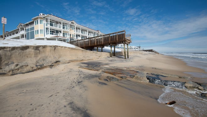 View of beach erosion at Bethany Beach caused by the latest nor'easter.