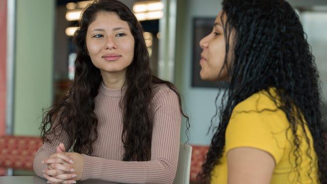 DACA recipients Fernanda Lima, left, and Itzel Serrano are students at Delaware State University in Dover.