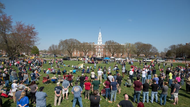 The Delaware Citizens for the 2nd Amendment and the Delaware 3% United Patriots held a pro-Second Amendment rally outside Legislative Hall in Dover.