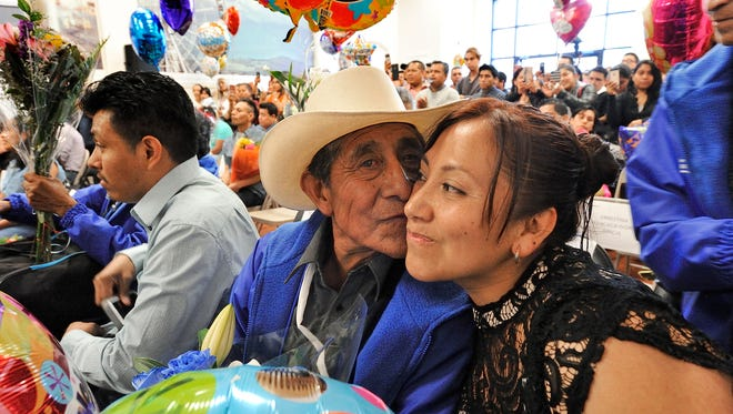 Maria Analco of Stratford reunites with her father Celestino who just arrived from Mexico on Tuesday, June 5, 2018, for a three-week visit.