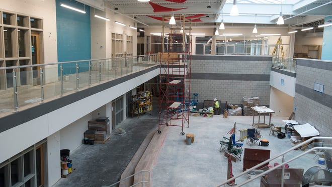 The central lobby of the new McCutchanville Elementary School on Wednesday, June 27, 2018. The $27 million school will be open at the start of the next school year.