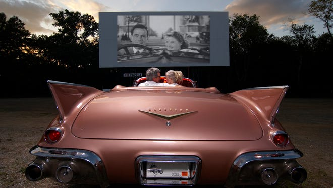 Connecticut: Guests settle in for a film in a vintage Cadillac at the Mansfield Drive-In Theatre & Marketplace in Mansfield, Connecticut.