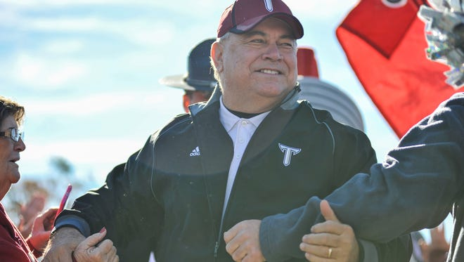 Coach Blakeney greets fans during Trojan Walk prior to final game of his career in Troy, Ala. on Saturday, November 29, 2014.