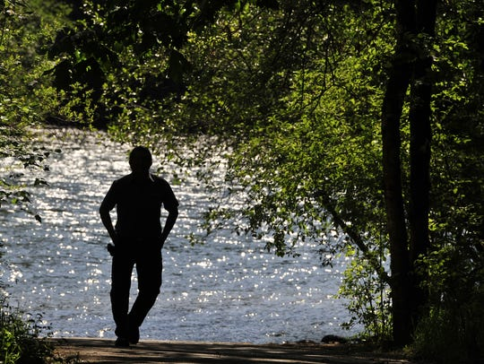 A man walks up from the shore of the North Santiam River near Fishermen's Bend.