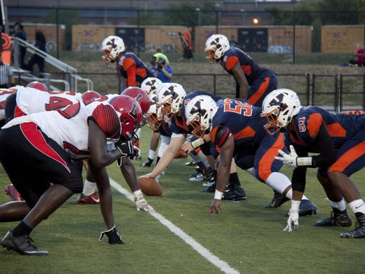 The William Penn offense lines up against J.P McCaskey