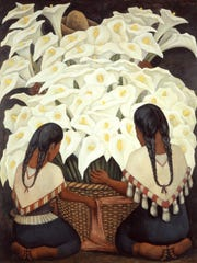 """Calla Lily Vendor"" (1943), by Diego Rivera, is featured"