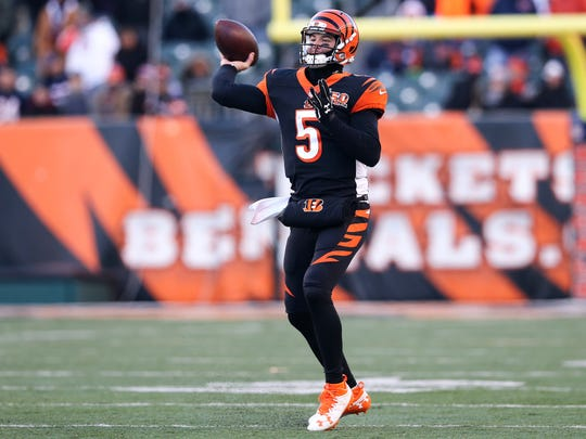 Cincinnati Bengals quarterback AJ McCarron (5) throws downfield in the fourth quarter during the Week 14 NFL game between the Chicago Bears and the Cincinnati Bengals, Sunday, Dec. 10, 2017, at Paul Brown Stadium in Cincinnati.