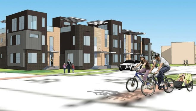 Hubbell Realty Co. plans to build a 47-unit townhouse development called The Banks as part of the first phase of the Bridge District.